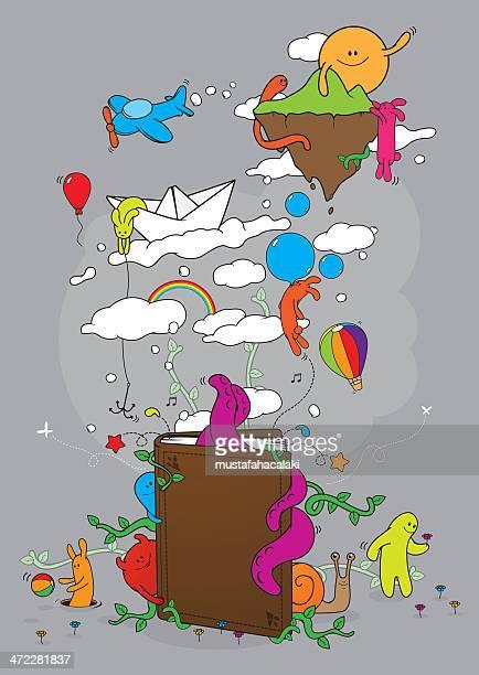 ilustraciones, imágenes clip art, dibujos animados e iconos de stock de cuento libro - historia