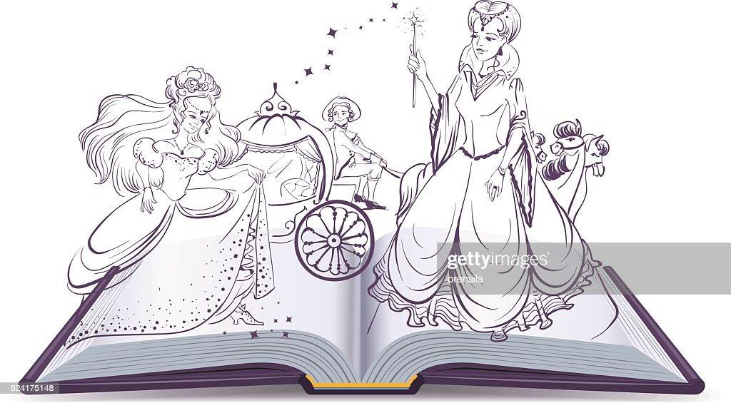 Tale of Cinderella. Open book fantasy tale