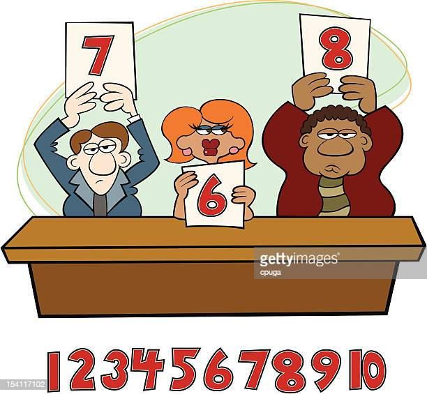 talent judges - scoring stock illustrations