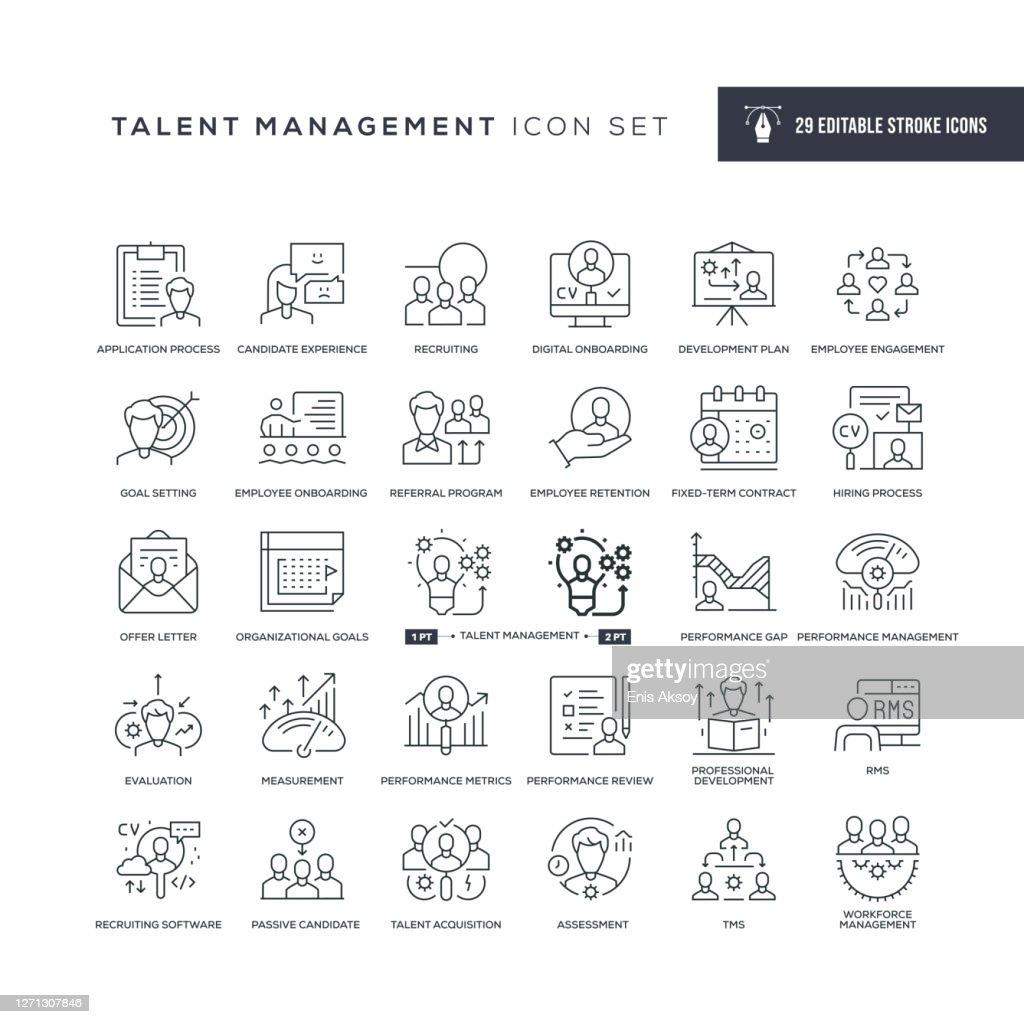 Talent Management Editable Stroke Line Icons : stock illustration