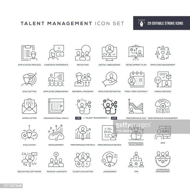ilustrações de stock, clip art, desenhos animados e ícones de talent management editable stroke line icons - envolvimento dos funcionários