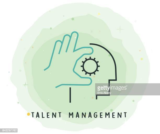 Talent Management Icon with Watercolor Patch