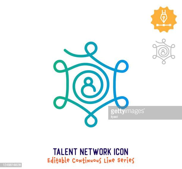 talent network continuous line editable icon - employee engagement stock illustrations