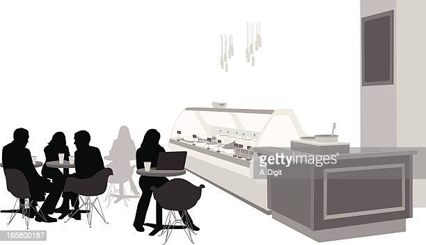 talk over coffee vector silhouette - display cabinet stock illustrations, clip art, cartoons, & icons