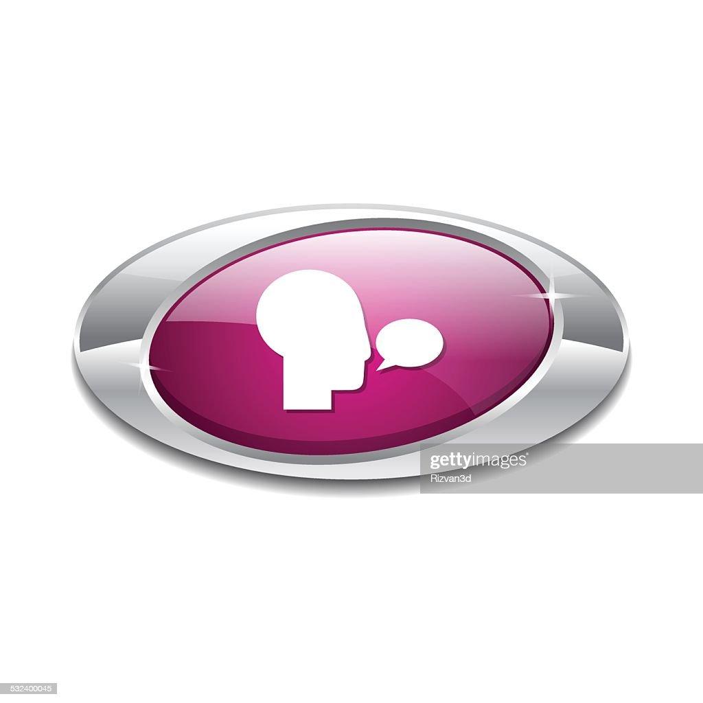 Talk Pink Vector Icon Button
