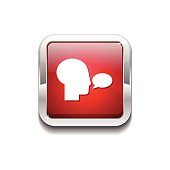 Talk Red Vector Icon Button