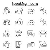 Talk, speech, discussion, dialog, speaking, chat, conference, meeting icon set in thin line style