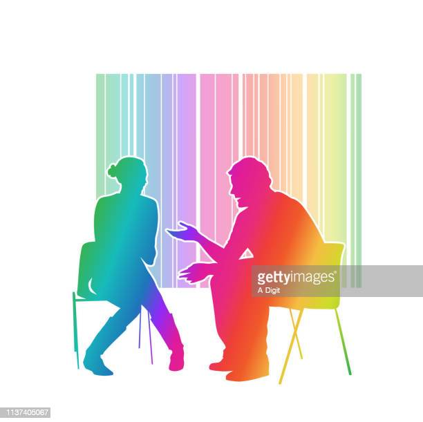 talk things through advice rainbow - mental health professional stock illustrations