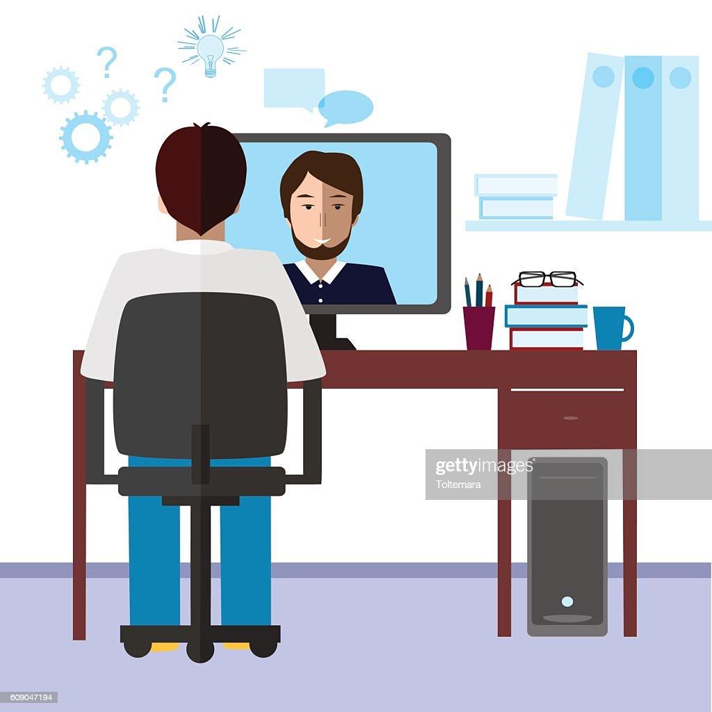 Talk through the Internet. Student and tutor communication.