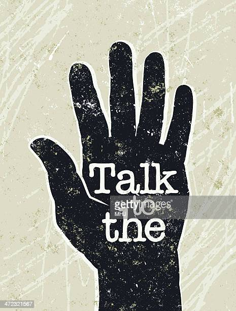 talk to the hand and text - silk screen stock illustrations