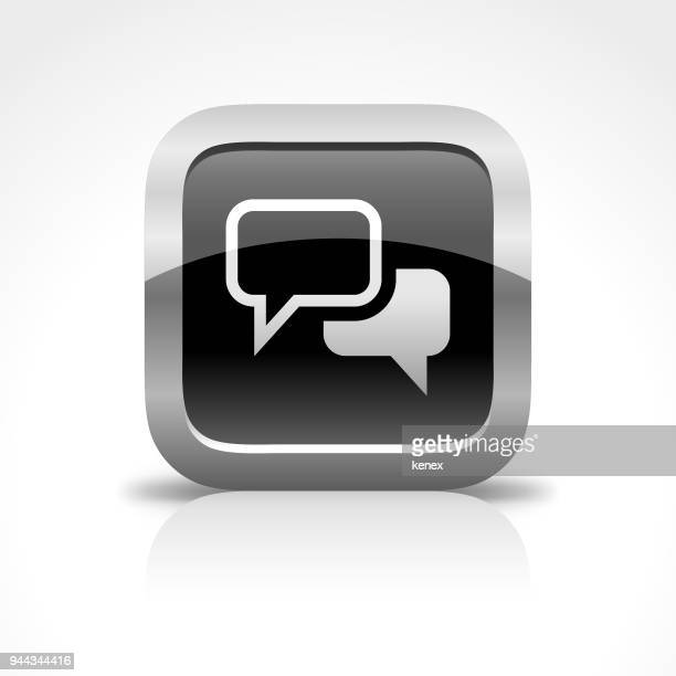 talking bubble and message glossy button icon - phone message stock illustrations