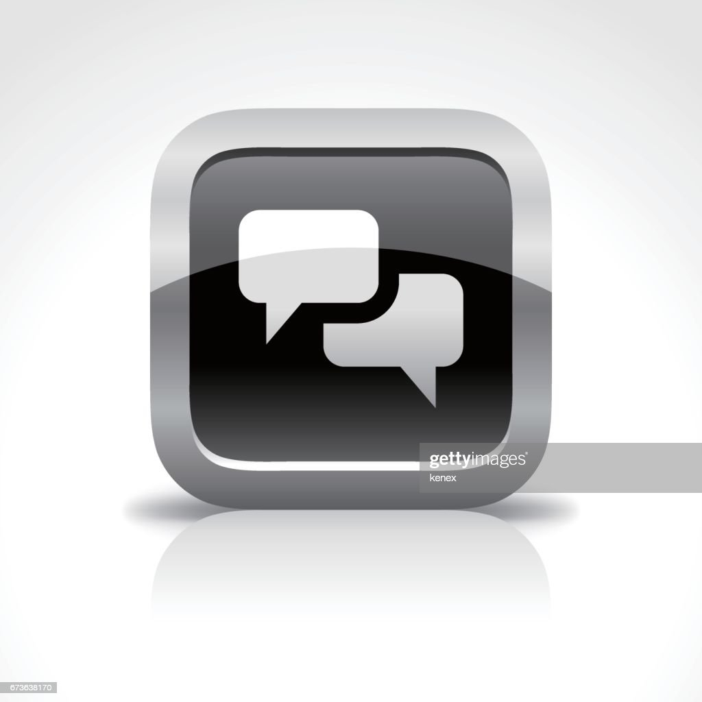 Talking Bubble Glossy Button Icon