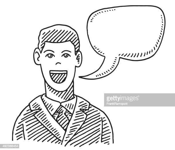 会話をするビジネスマンがスピーチ泡の描出