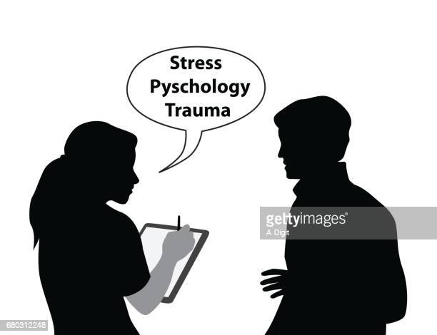 talking it out therapy - mental health professional stock illustrations