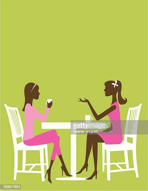 talking with a friend - female friendship stock illustrations