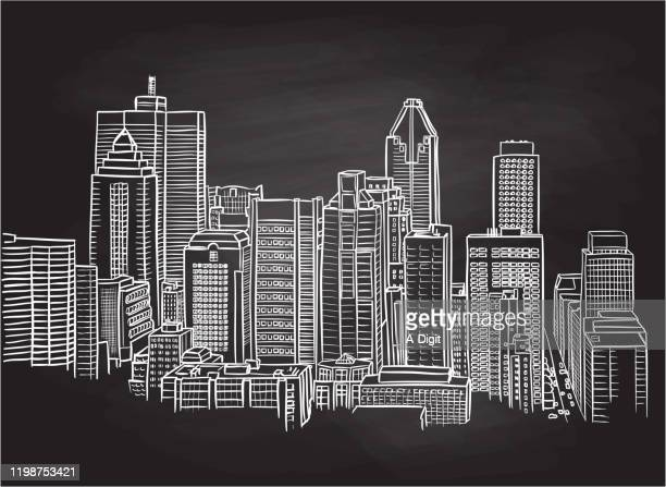 tall buildings urban landscape chalkboard - montreal stock illustrations