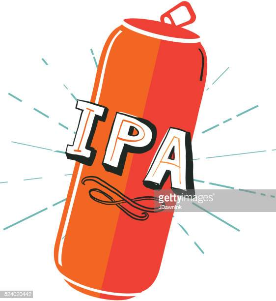 ipa tall can label hand lettering design - india pale ale stock illustrations, clip art, cartoons, & icons