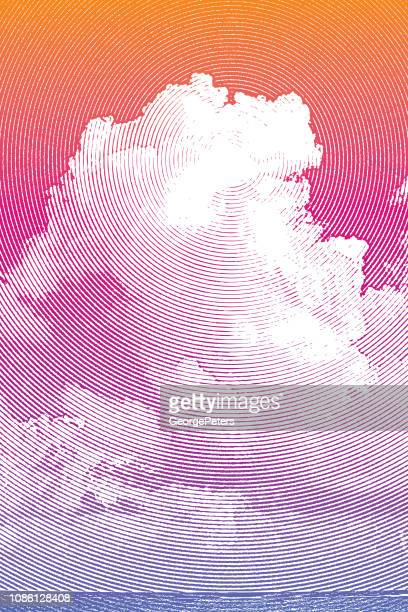 tall cumulous cloudscape over sea - heaven stock illustrations