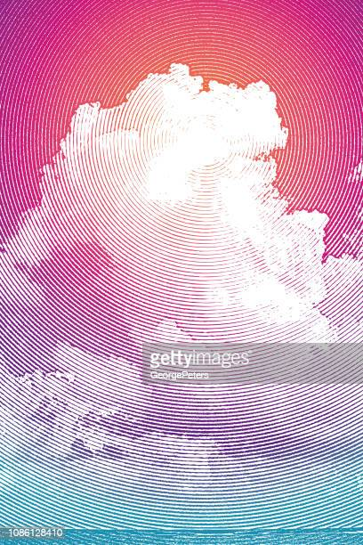 tall cumulous cloudscape over sea - afterlife stock illustrations, clip art, cartoons, & icons