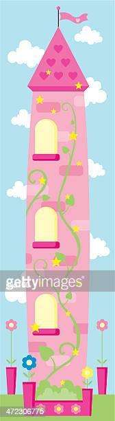 große märchenhaften beanstalk tower - bohnenranke stock-grafiken, -clipart, -cartoons und -symbole