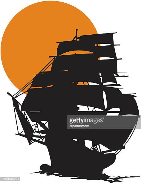 tall ship silhouetted against sunset - brigantine stock illustrations, clip art, cartoons, & icons