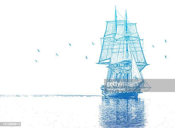 背の高い船 - 帆船点のイラスト素材/クリップアート素材/マンガ素材/アイコン素材