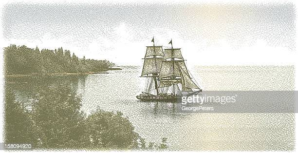 tall ship - named wilderness area stock illustrations