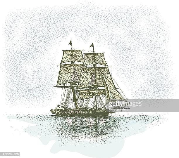 tall ship - sail stock illustrations, clip art, cartoons, & icons