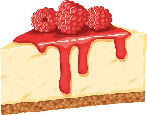 tall slice of cheesecake topped with fresh raspberries - 芝士蛋糕 幅插畫檔、美工圖案、卡通及圖標