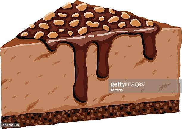 ilustrações, clipart, desenhos animados e ícones de altura fatia de cheesecake de chocolate com cobertura de amendoim picado - molho de chocolate