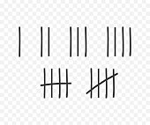 Tally marks on the wall isolated. Counting characters. Vector stock illustration