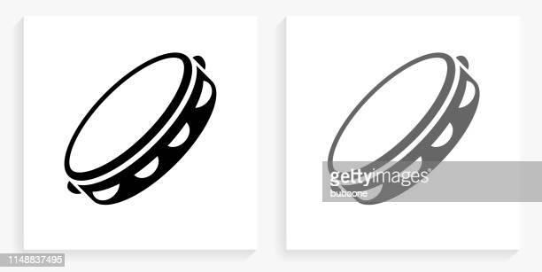 tambourine black and white square icon - tambourine stock illustrations