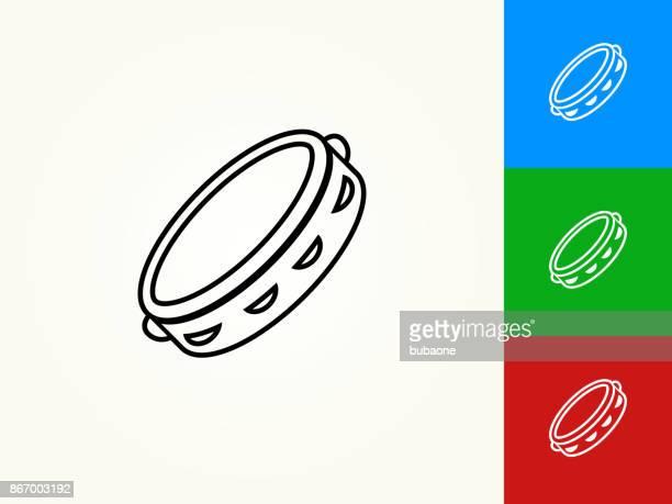 tambourine black stroke linear icon - tambourine stock illustrations