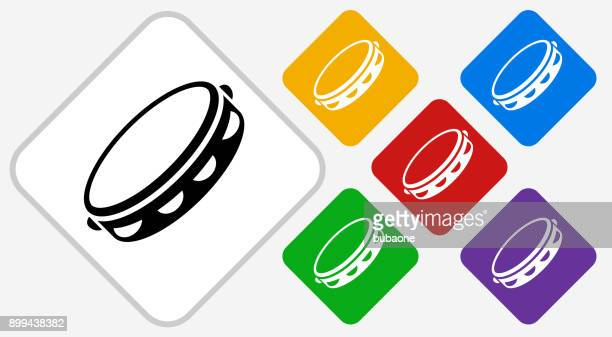 ilustrações de stock, clip art, desenhos animados e ícones de tambourine color diamond vector icon - pandeiro