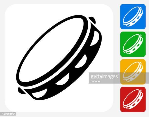 tambourine icon flat graphic design - tambourine stock illustrations