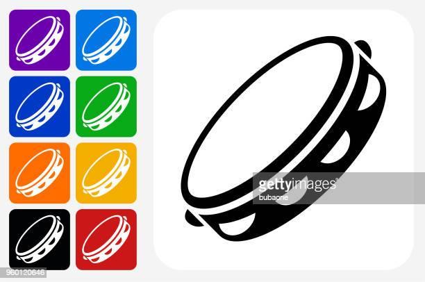 tambourine icon square button set - tambourine stock illustrations