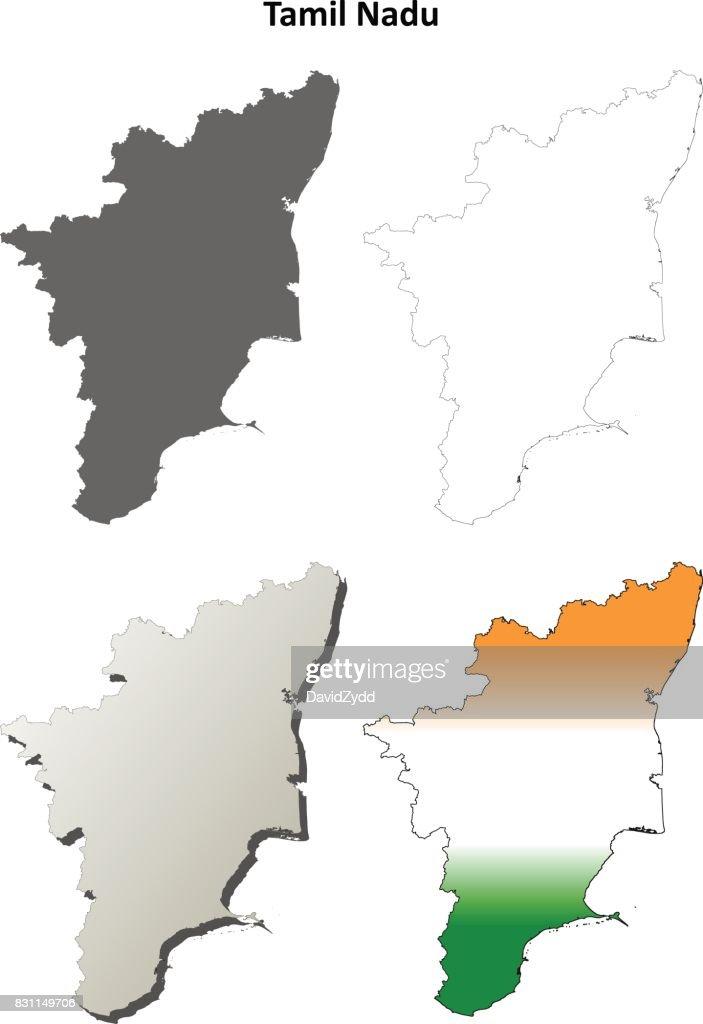 Tamil Nadu blank outline map set