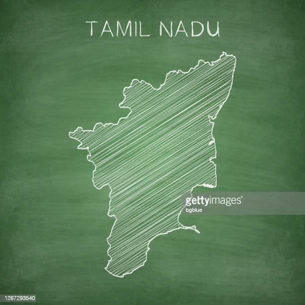 tamil nadu map drawn on chalkboard - blackboard - tamil nadu stock illustrations