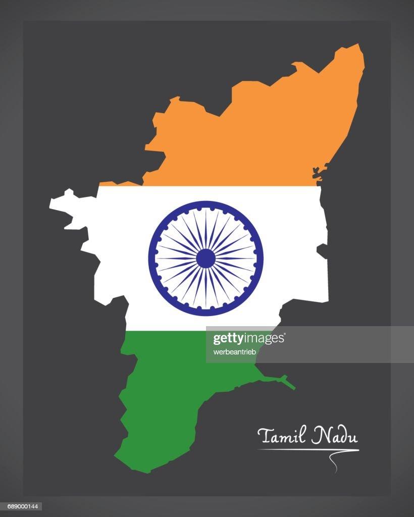 Tamil Nadu map with Indian national flag illustration