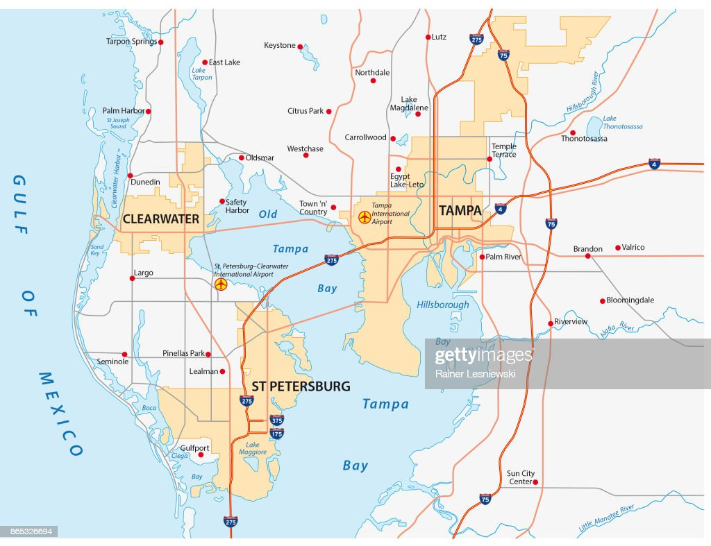 Tampa Bay Area Road Map Vector Art Getty Images