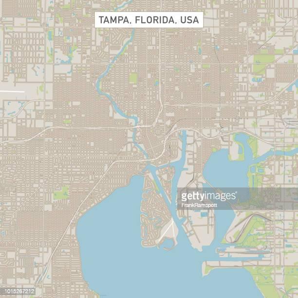 tampa florida us city street map - tampa stock illustrations