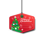 Tamplate Merry Christmas Tag With Pine Tree On Red Isolated On White Background