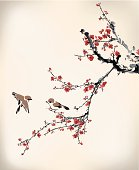 Tan and black birds landing on red winter sweet blossoms