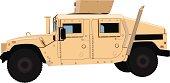 Tan Humvee (HMMWV) Side - Vector