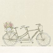 Tandem Bicycle With Flower Basket