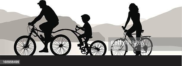 tandem bike vector silhouette - family cycling stock illustrations, clip art, cartoons, & icons