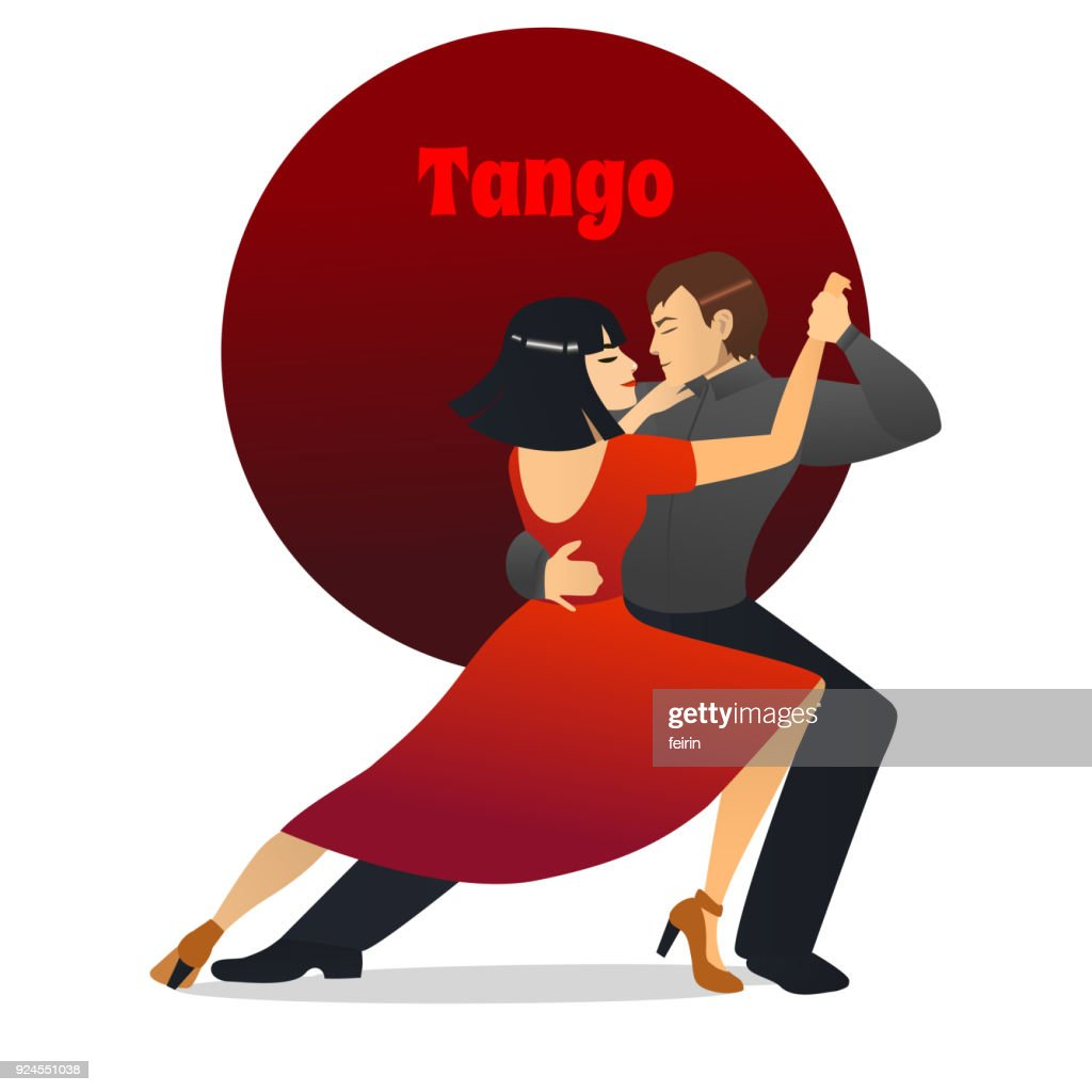 Tango Dancing Couple in Cartoon Style