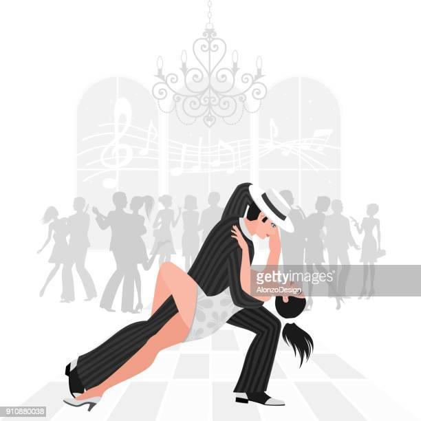 ilustraciones, imágenes clip art, dibujos animados e iconos de stock de tango danza - pareja bailando cuerpo entero