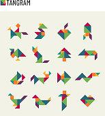 Tangram children brain game cutting transformation puzzle vector set