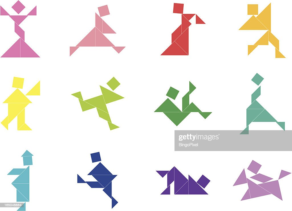 Tangram People Icon 001 Vector Art